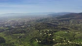 toscana : Aerial revealing shot of distant city of Florence, Italy
