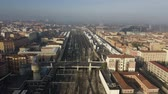 emilia : Aerial view of Bologna Centrale railroad station within cityscape, Italy
