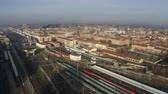 болонский : Bologna Centrale railroad station and tracks and city, Italy. Aerial shot Стоковые видеозаписи