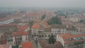 sloping : Aerial shot of the city of Padua on a foggy day, Italy Stock Footage