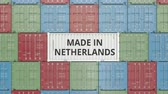 オランダ : Cargo container with MADE IN NETHERLANDS text. Dutch import or export related 3D animation 動画素材