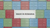 rumunština : Container with MADE IN ROMANIA text. Romanian import or export related 3D animation