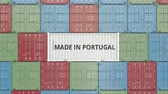 portugalia : Container with MADE IN PORTUGAL text. Portuguese import or export related 3D animation Wideo