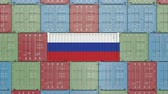 groothandel : Container with flag of Russia. Russian import or export related 3D animation