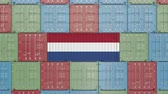 オランダ : Container with flag of Netherlands. Dutch import or export related 3D animation 動画素材