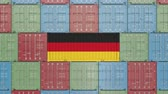 forwarder : Cargo container with flag of Germany. German import or export related 3D animation Stock Footage
