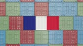 drapeaux français : Cargo container with flag of France. French import or export related 3D animation Vidéos Libres De Droits