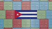 cubano : Cargo container with flag of Cuba. Cuban import or export related 3D animation Stock Footage