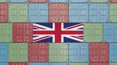 английский : Container with flag of the United Kingdom. British import or export related 3D animation