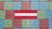 Австрия : Container with flag of Austria. Austrian import or export related 3D animation
