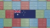 austrálie : Cargo container with flag of Australia. Australian import or export related 3D animation