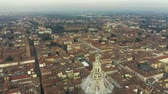zamek : Aerial view of Duomo di Pavia cathedral within the cityscape of Pavia. Italy Wideo