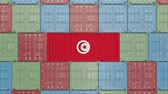 tunisian flag : Container with flag of Tunisia. Tunisian import or export related 3D animation