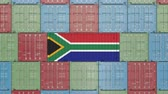 forwarder : Cargo container with flag of South Africa. SAR import or export related 3D animation