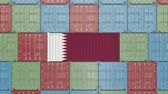 supplies : Cargo container with flag of Qatar. Qatari import or export related 3D animation