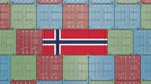 норвежский : Container with flag of Norway. Norwegian import or export related 3D animation