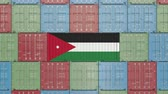 jordanian : Cargo container with flag of Jordan. Jordanian import or export related 3D animation Stock Footage