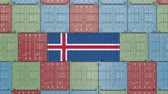 cargo container : Cargo container with flag of Iceland. Icelandic import or export related 3D animation