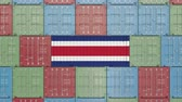 kostarika : Cargo container with flag of Costa Rica. Import or export related 3D animation