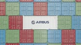 аэробус : Airbus corporate logo on an industrial container. Editorial animation