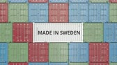 шведский : Cargo container with MADE IN SWEDEN text. Swedish import or export related 3D animation