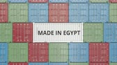 egypťan : Container with MADE IN EGYPT text. Egyptian import or export related 3D animation