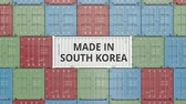rakomány : Container with MADE IN SOUTH KOREA text. Korean import or export related 3D animation