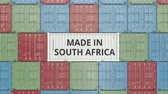 international economy : Container with MADE IN SOUTH AFRICA text. Import or export related 3D animation