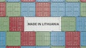 litwa : Container with MADE IN LITHUANIA text. Lithuanian import or export related 3D animation