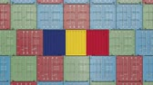 romanya : Container with flag of Romania. Romanian import or export related 3D animation