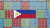 cargo container : Container with flag of Philippines. Import or export related 3D animation