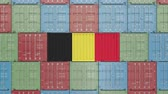 ベルギー : Container with flag of Belgium. Belgian import or export related 3D animation