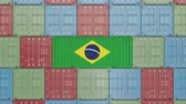 브라질 : Container with flag of Brazil. Brazilian import or export related 3D animation