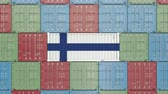 rakomány : Container with flag of Finland. Finnish import or export related 3D animation