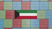 rakomány : Container with flag of Kuwait. Kuwaiti import or export related 3D animation
