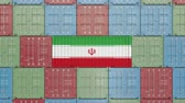 forwarder : Cargo container with flag of Iran. Iranian import or export related 3D animation Stock Footage