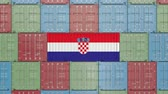 hırvat : Cargo container with flag of Croatia. Croatian import or export related 3D animation Stok Video