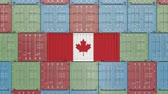 ithalat : Cargo container with flag of Canada. Canadian import or export related 3D animation