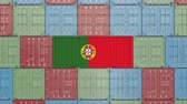 portugalia : Cargo container with flag of Portugal. Portuguese import or export related 3D animation