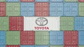 доставлять : Container with Toyota corporate logo. Editorial 3D animation