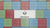 renault : Container with Renault corporate logo. Editorial 3D animation
