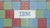 ibm : Container with IBM corporate logo. Editorial 3D animation