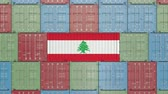 libano : Container with flag of Lebanon. Lebanese import or export related 3D animation Filmati Stock