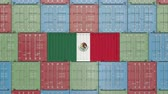 produkt : Container with flag of Mexico. Mexican import or export related 3D animation Dostupné videozáznamy