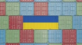 ucrânia : Cargo container with flag of Ukraine. Ukrainian import or export related 3D animation