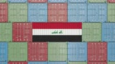 liman : Cargo container with flag of Iraq. Iraqi import or export related 3D animation