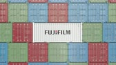 spedycja : Container with Fujifilm corporate logo. Editorial 3D animation