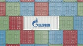 調達 : Container with Gazprom corporate logo. Editorial 3D animation