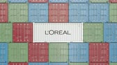 調達 : Container with LOreal corporate logo. Editorial 3D animation