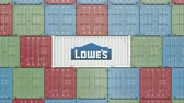 satıcı : Container with Lowes corporate logo. Editorial 3D animation Stok Video